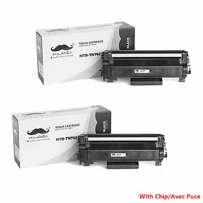 2PK TN760 Black Toner Cartridge High Yield - With Chip For Brother DCP-L2550DW