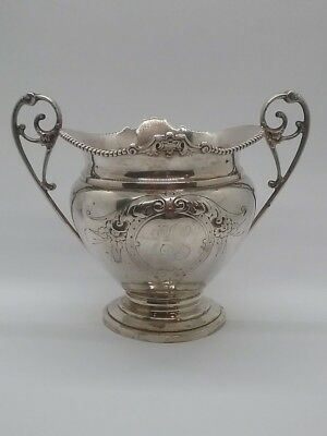 Antique Hallmarked WOOD & HUGHES Sterling Silver Repousse Sugar Bowl