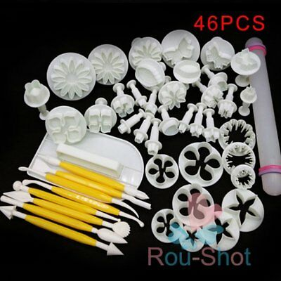 46Pcs Fondant Sugarcraft Cake Decorating Icing Plunger Cutters Baking Tools Mold