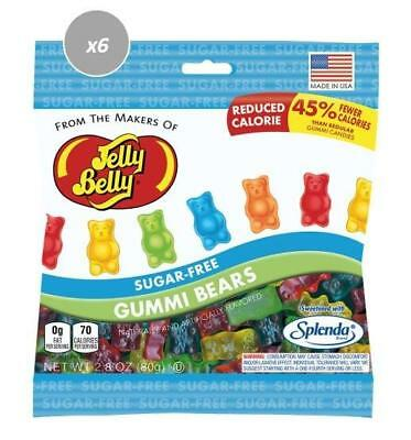 913427.6 6 X 80G Packets Of Jelly Belly Sugar Free Gummi Bears Lolly Mix