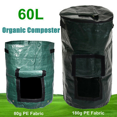 60L Covered Organic Composter Waste Converter Bins Compost Storage Garden Supply