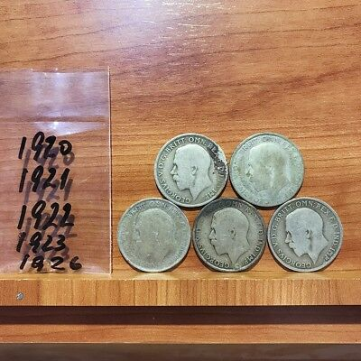 1920 - 1926 Florin 2 Shillings George British Silver Coins Lot of 5