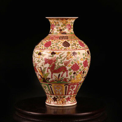 China antique porcelain MING CHENGHUA hand painted pastel dragon kylin vase