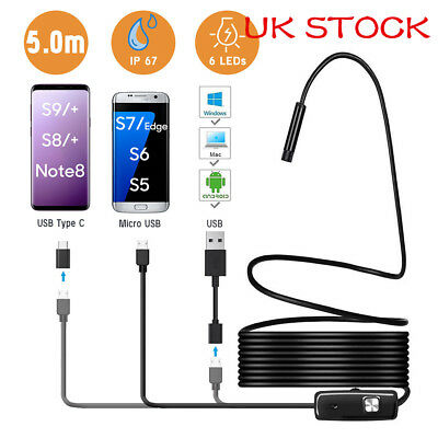 5.5mm 6LED Cellphone Endoscope Borescope Inspection Camera with USB C/Micro Port