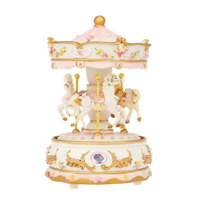 Pink Colorful LED Carousel Merry-Go-Round Musical Box Xmas Birthday Gifts