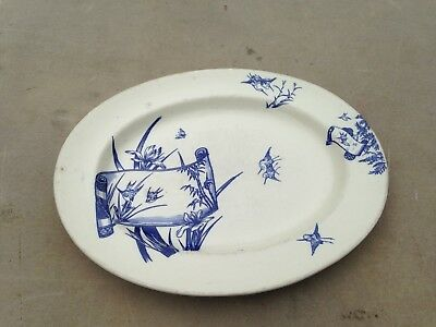A Chinese Or Japanese Blue & white landscape platter plate tray - Copeland Spode