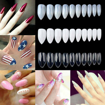 600x Capsules Extension Faux Ongles Acrylique French Gel UV Pointu Nail Art Tips