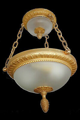 CEILING LAMP STAMPED, LOUIS XVI STYLE - BRONZE - FRENCH ANTIQUE - 35 cm / 13,8in