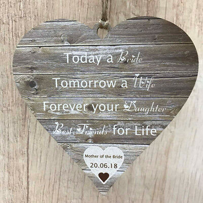 Mother of the Bride Wedding Gifts Rustic Wooden MDF Heart Personalised MOB Sign