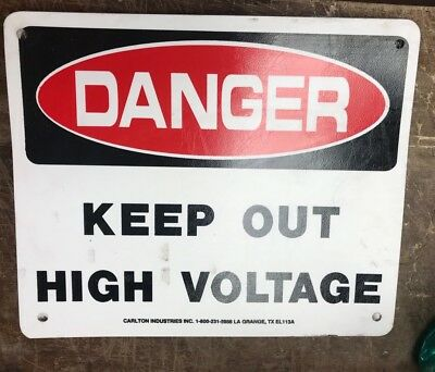 "Danger High Voltage Keep Out Sign - 10""x12. Lot Of 9"