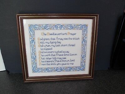 Vintage sampler The needle workers prayer 28x28