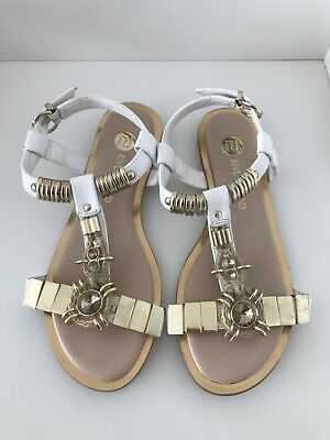 River Island Sandals White Gold Flat Sandals Size 4 Eur 37