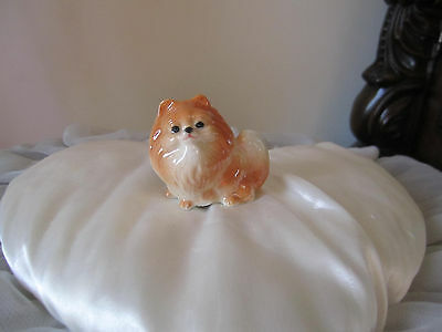 Pomeranian Figurine Ceramic Handmade Brown Collectible