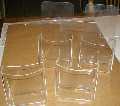 Set of 4 Leaflet Holder Tri-fold Literature Holder Clear Acrylic