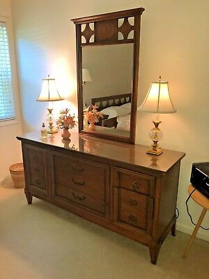REDUCED!!!  DIXIE Mid Century Modern Dresser Chest of Drawers with MIRROR