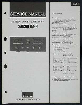 SANSUI BA-F1 Original Power Amplifier/Verstärker Service-Manual/Diagram o151