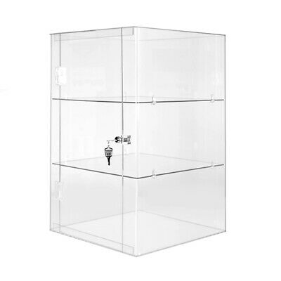Lockable Clear Acrylic Display Cabinet Shelved Countertop - 2 sizes Available UK