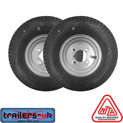 "Pair of 480/400 X 8"" Trailer Wheels with High Speed Tyres. *Next Day Delivery*"