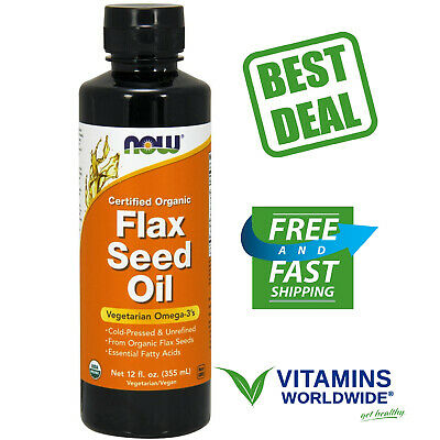 NOW FOODS FLAX SEED OIL Liquid Organic Vegetarian Omega-3's Cold-Pressed 12 OZ
