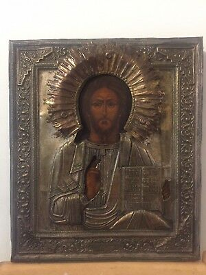 Russian Orthodox Icon of Christ Pantocrator (Mid to Late 19th Century)