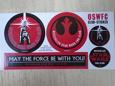 ORIG. STAR WARS FAN CLUB OSWFC Aufkleber,Sticker/SET/MAY THE FORCE WITH YOU 2004