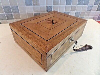 Edwardian Inlaid Wooden Box With 8 Pointed Star- Photoframe Inside Lid Lock& Key