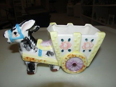 Vintage Ceramic Donkey Burro Pulling a Cart Hand Painted Piece