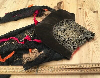 Strange Antique Hat With Real Hair & Black Lace, Antique Theatre Witches Hat??
