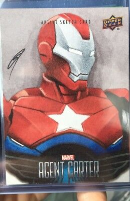 2018 Agent Carter SKETCH CARD 1/1 Iron Patriot By Gabe Farber Marvel Upper Deck