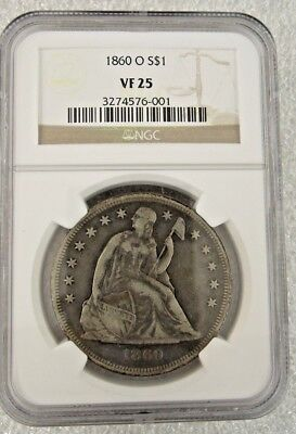 NGC VF 25 1860O Seated Dollar