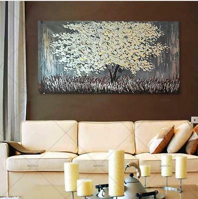 Hand Painted Abstract Canvas Oil Painting Silver Tree Wall Art Home Decor