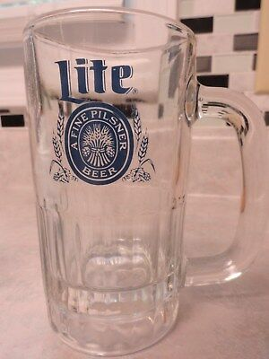 "Vintage Miller Lite Glass Beer Mug Ribbed Base 5 1/2"" Tall"