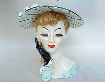 Very Vintage Napco China 1956 Lady Head Vase w Rhinestones. Kind of Large.