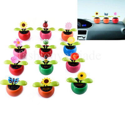 e6147c7b18cd3 Car Flowerpot Solar Power Flip Flap Flower Plant Swing Car Dance Toy Home  NEW
