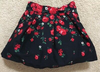 Janie and Jack Girls Skirt With Tulle Floral Navy Red Flowers 2T Adjustable
