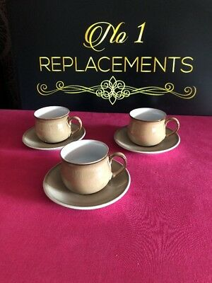 3 x Denby Viceroy Coffee Espresso Cups And Saucers