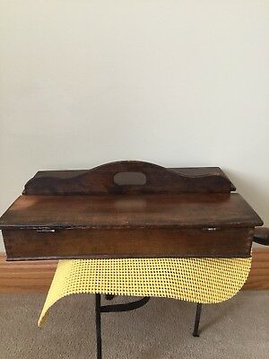 Antq. Dovetailed Covered Cutlery Tray Box W/curved Decorative Carry Handle