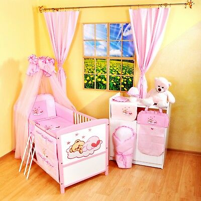NEW WHITE-PINK 2in1 COT-BED 120x60 WITH 12-PIECE BEDDING no 15 MATTRESS INCLUD.