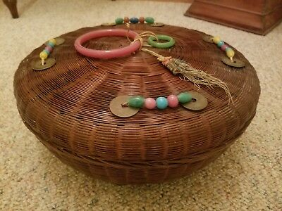 "VTG Signed Chinese Oriental 12"" Round Wicker Sewing Basket Bead 8 Coins Tassels"