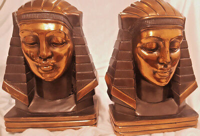 Vintage Eqyptian Art Deco Copper Finish Pharoah Head Headress Bookends