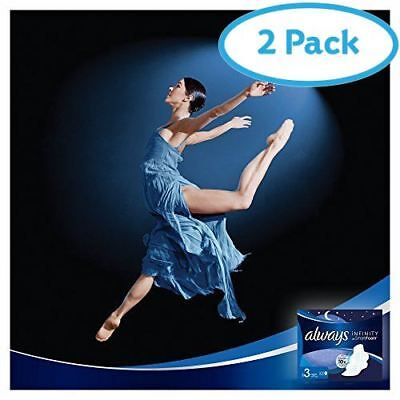 2 Packs of Always Infinity Night Sanitary Towels with Wings x 10