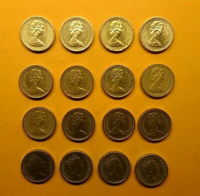 Great Britain England One Pound Coins Total Of (16) Coins With (11) Coins 1983