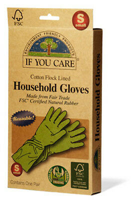 If You Care - Household Gloves Latex Cotton Flock Lined Small - 1 Pair