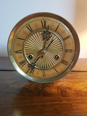 Antique 1930's Clock Mechanism Roman Numeral Face & Skeleton Hands (Movement)