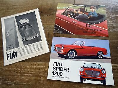 1960 Fiat Spider Roadsters 1500 & 1200 Original Sales Brochures Vtg Italian Ads
