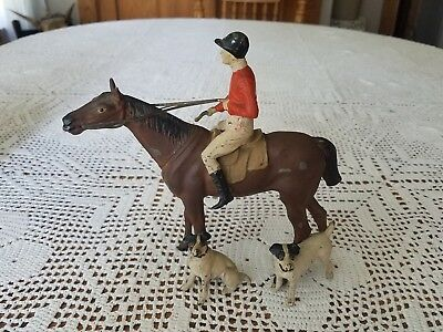 "Antique Germany Race Horse Dog Jockey Rider Figurine Metal Spelter 6.75""t×7""w"