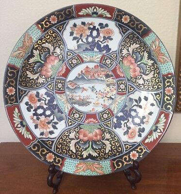 """Beautiful Chinese Japanese Charger Platter Plate Colorful Blue Red Flowers 16"""""""