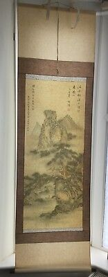 large vintage Chinese painting scroll signed/ oriental Japanese