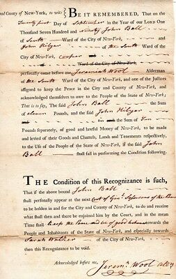 1790, New York, Jeremiah Wool, Sons of Liberty, Silversmith, signed document