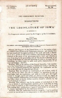Compromise of 1850, Slave and Free States, Iowa Legislature resolves